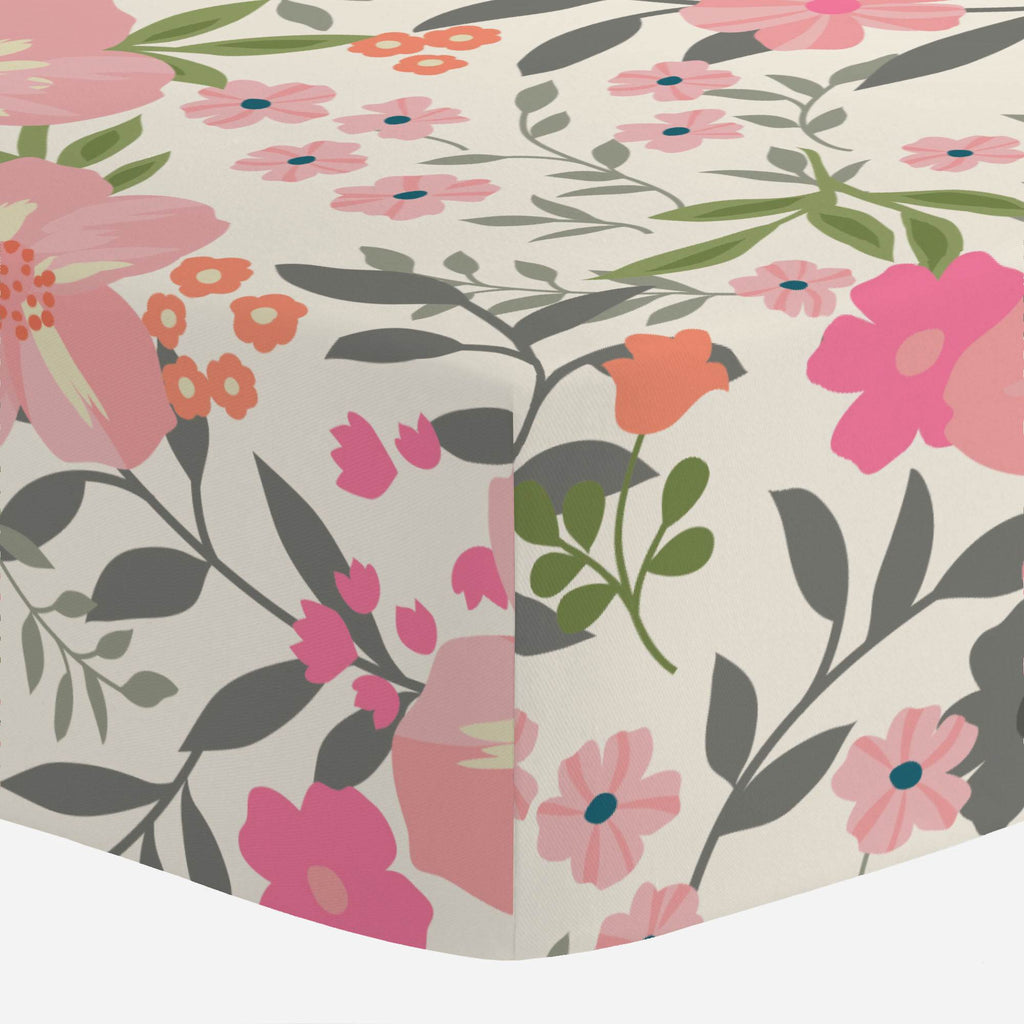 Product image for Pink and Orange Floral Tropic Crib Sheet