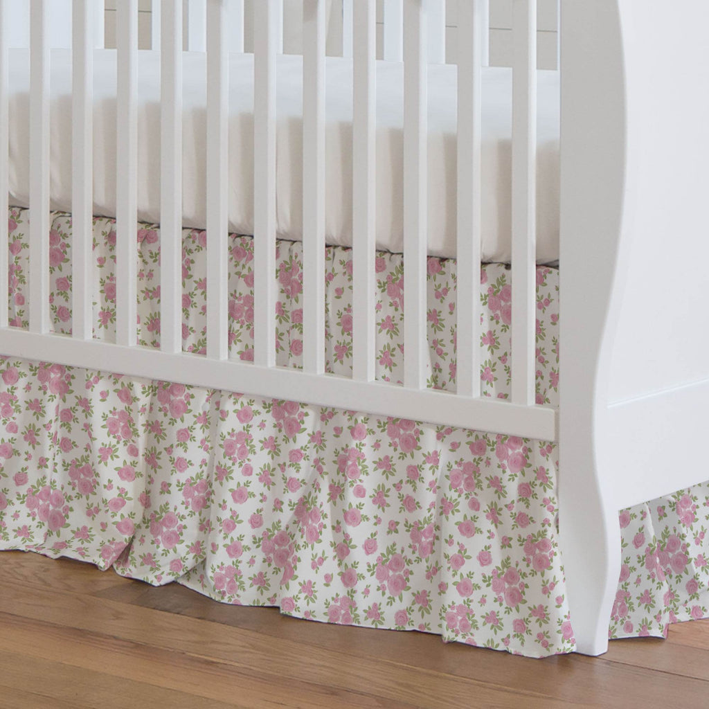 Product image for White and Pink Rosettes Crib Skirt Gathered