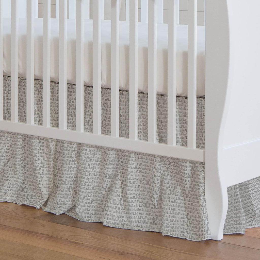 Product image for Gray Woodland Meadow Crib Skirt Gathered