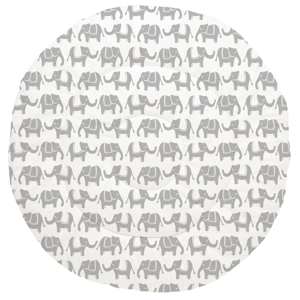 Product image for Silver Gray Marching Elephants Baby Play Mat