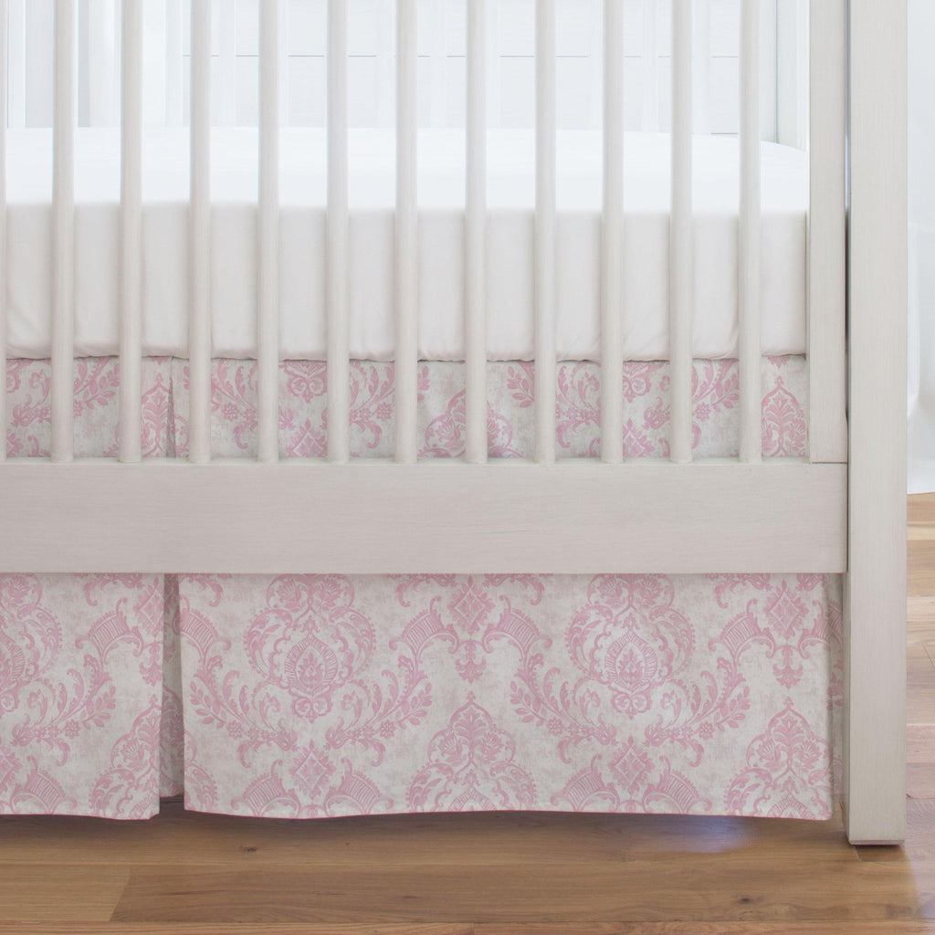 Product image for Pink Painted Damask Crib Skirt Single-Pleat