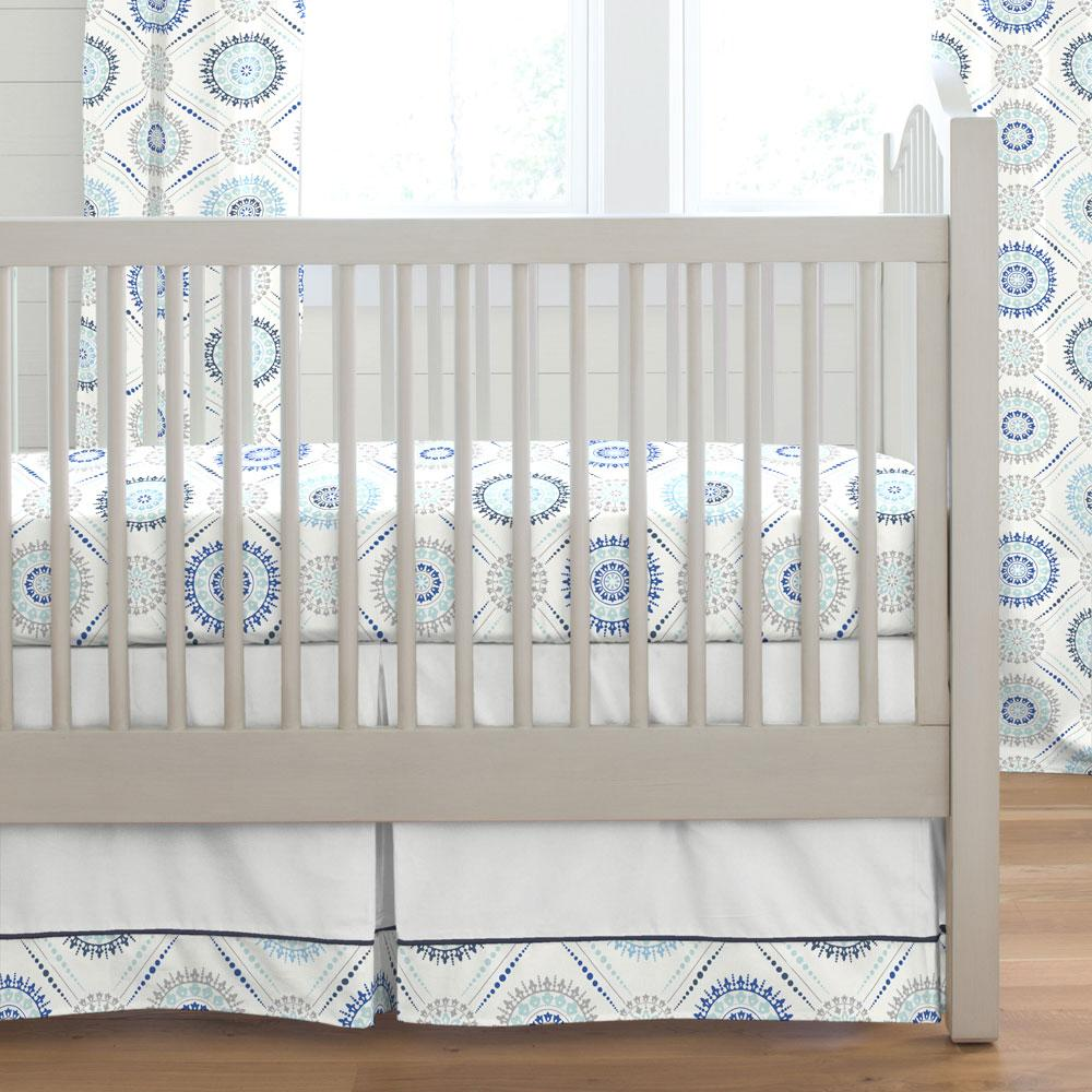Product image for Blue Modern Medallion Crib Skirt with Trim