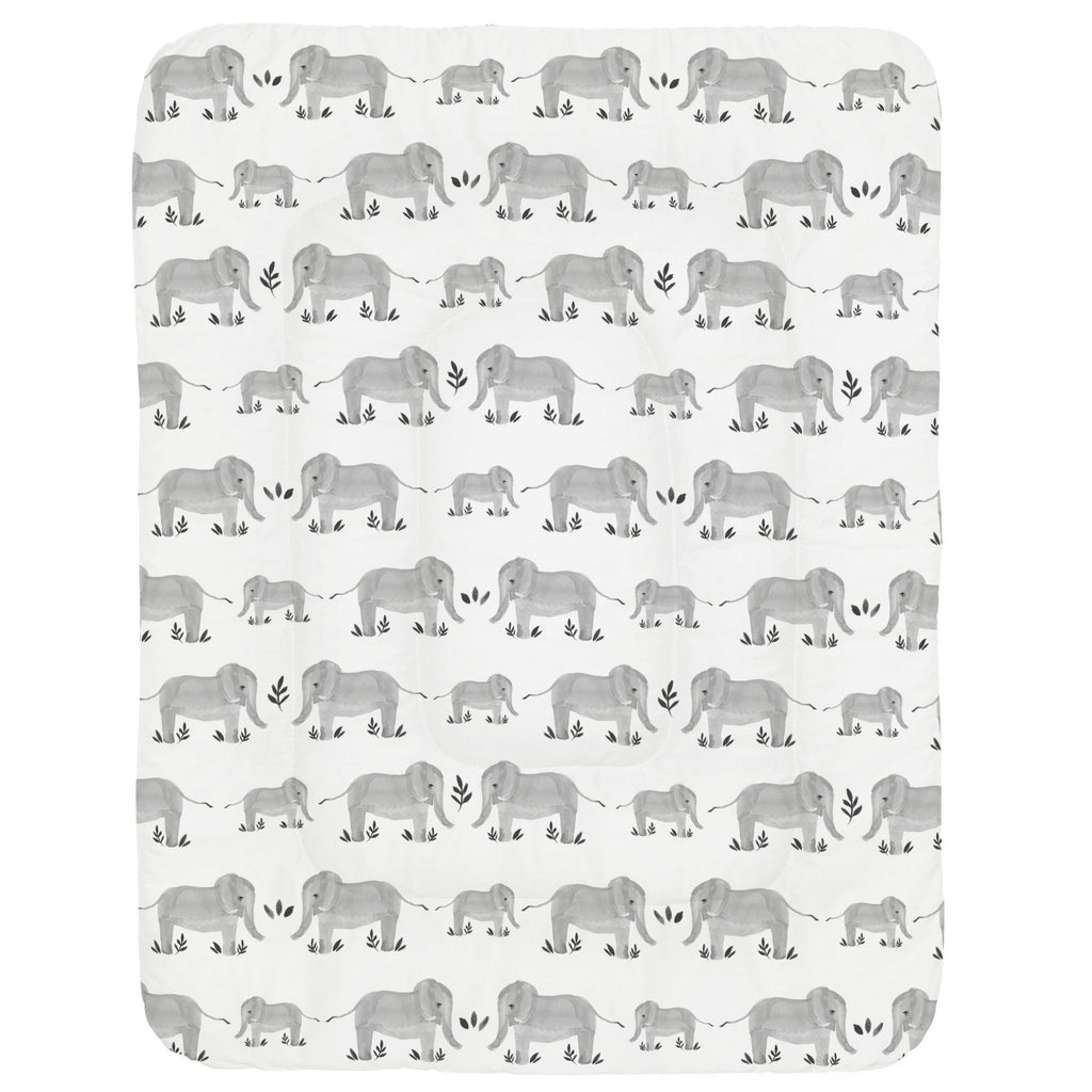 Product image for Gray Painted Elephants Crib Comforter