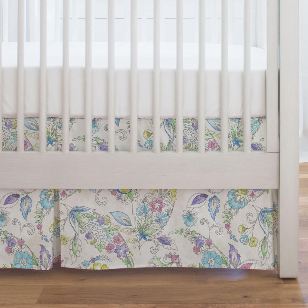 Product image for Sketchbook Floral Crib Skirt Single-Pleat