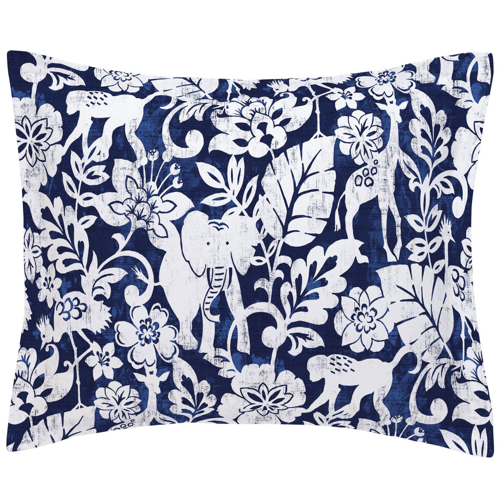 Product image for Navy and White Jungle Pillow Sham