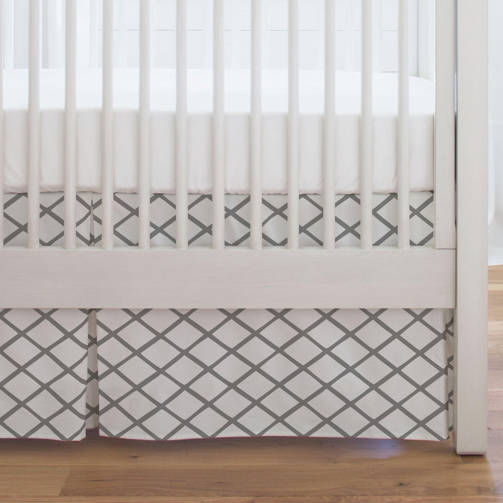 Product image for Cloud Gray Trellis Crib Skirt Single-Pleat