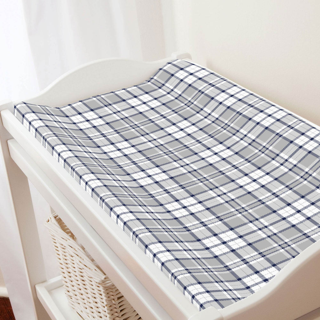 Product image for Navy and Gray Plaid Changing Pad Cover