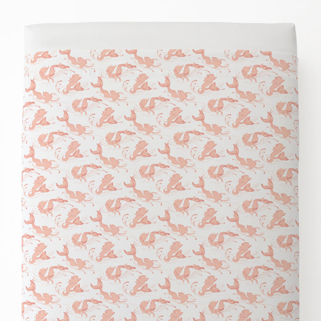 Product image for Peach Swimming Mermaids Toddler Sheet Top Flat
