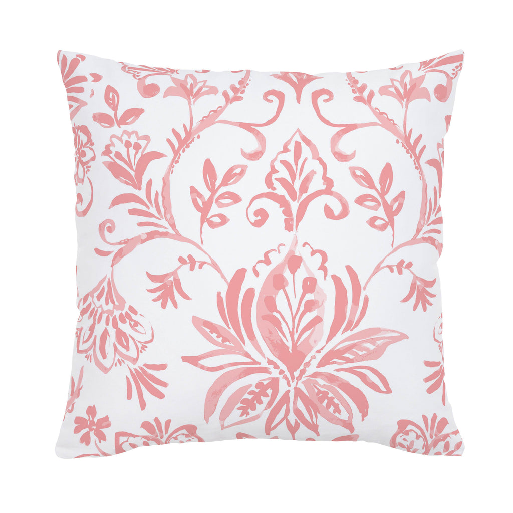 Product image for Coral Pink Coastal Damask Throw Pillow