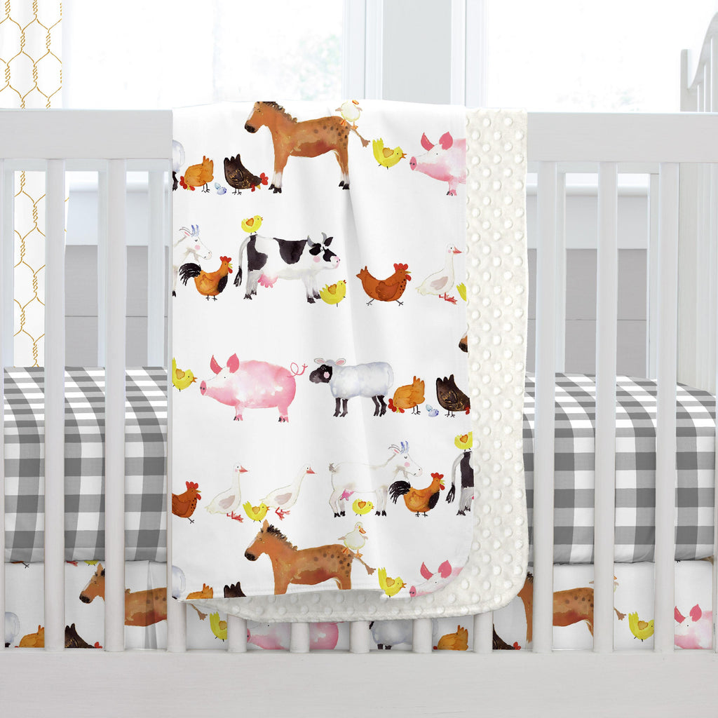 Product image for Painted Farm Animals Baby Blanket