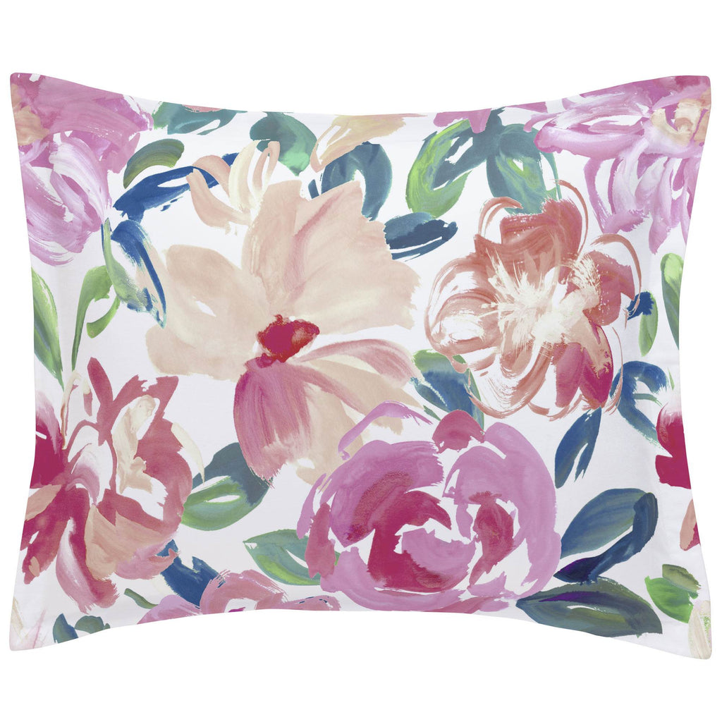Product image for Pink Brushstroke Floral Pillow Sham