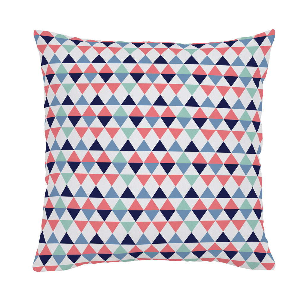 Product image for Coral and Mint Triangles Throw Pillow