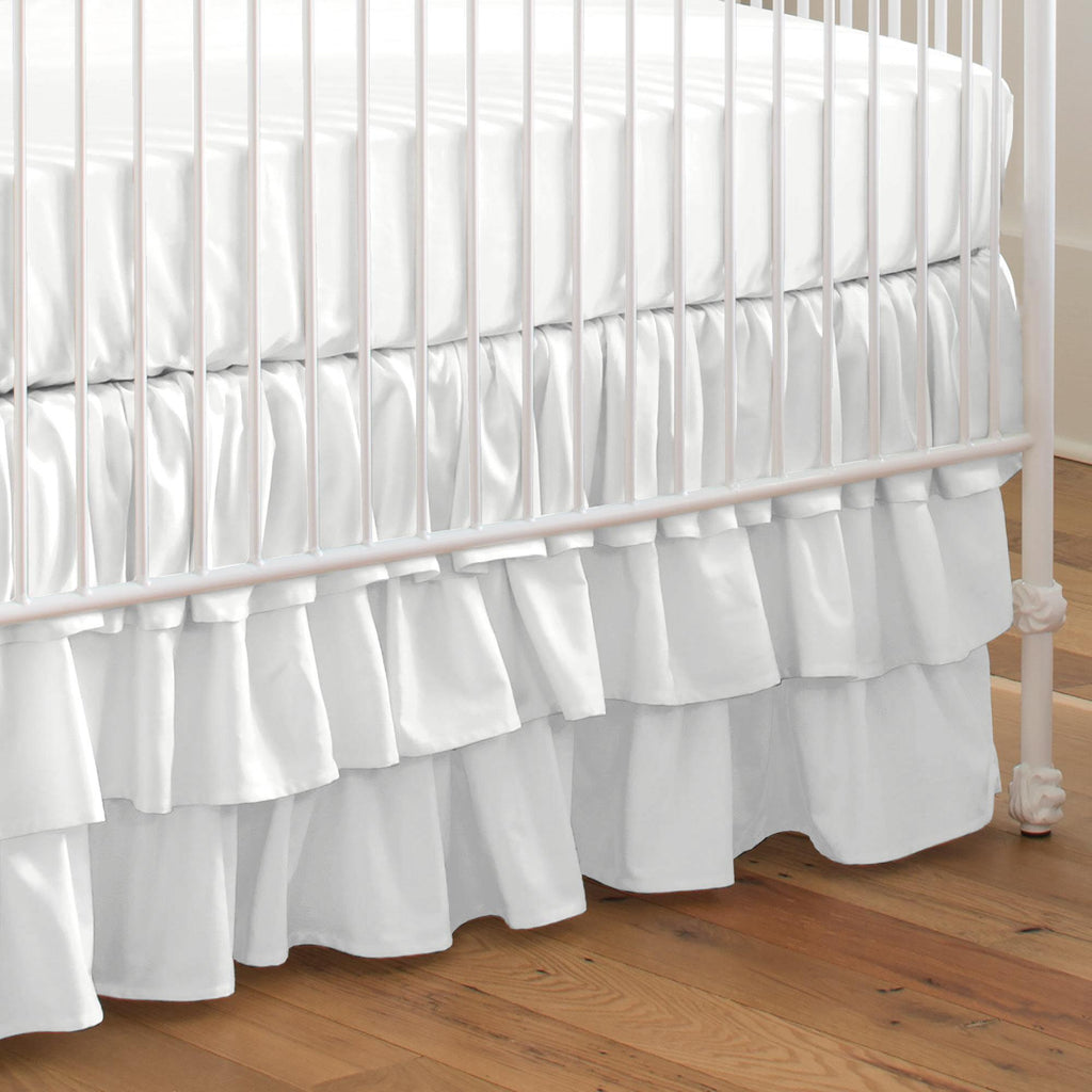Product image for Solid Antique White Crib Skirt 3-Tiered