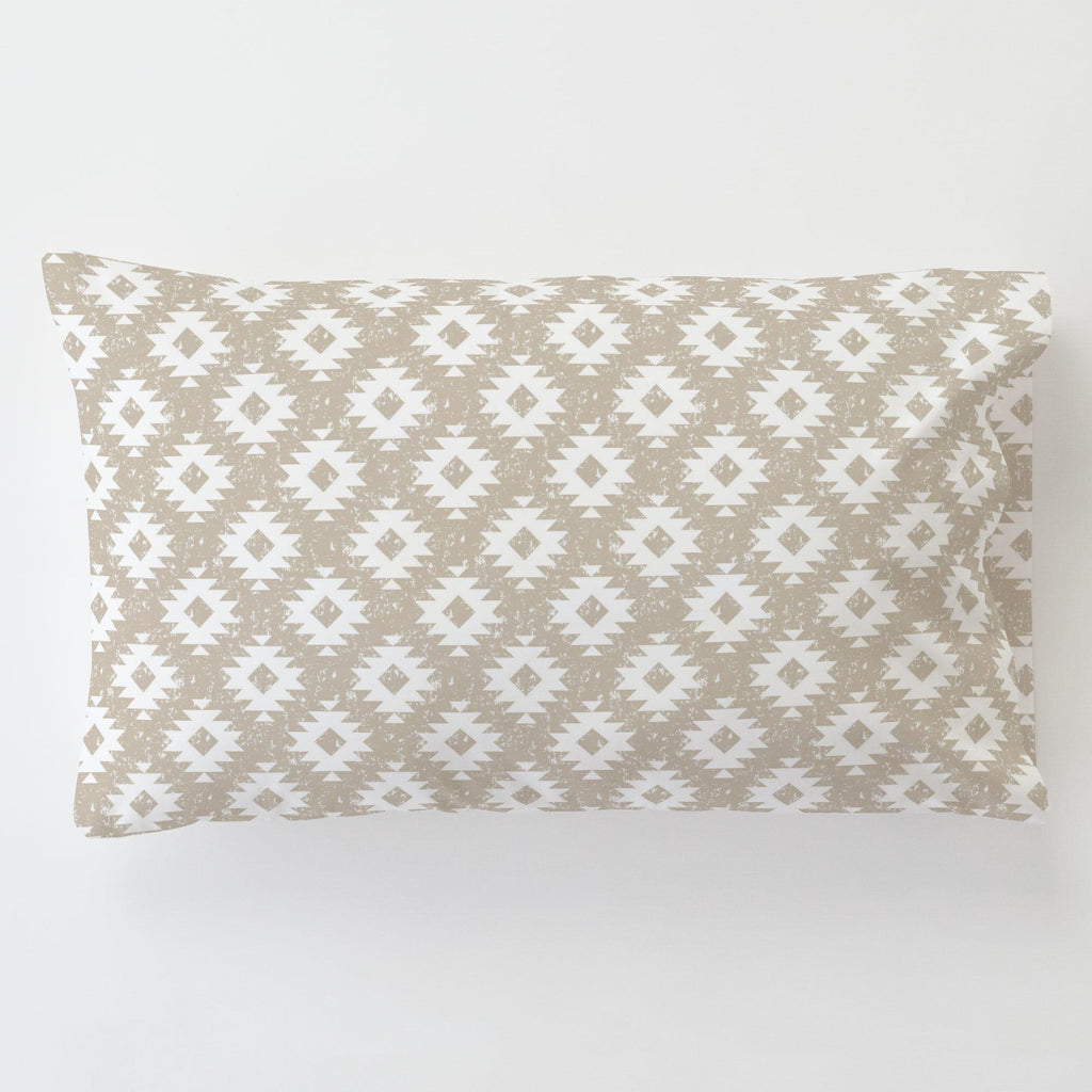 Product image for Taupe and White Aztec Toddler Pillow Case with Pillow Insert