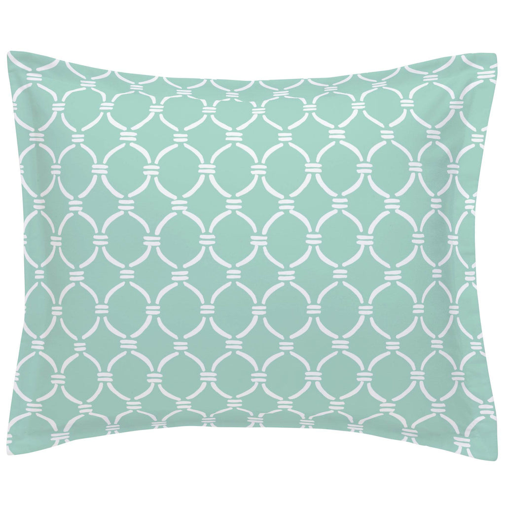 Product image for Mint and White Lattice Circles Pillow Sham