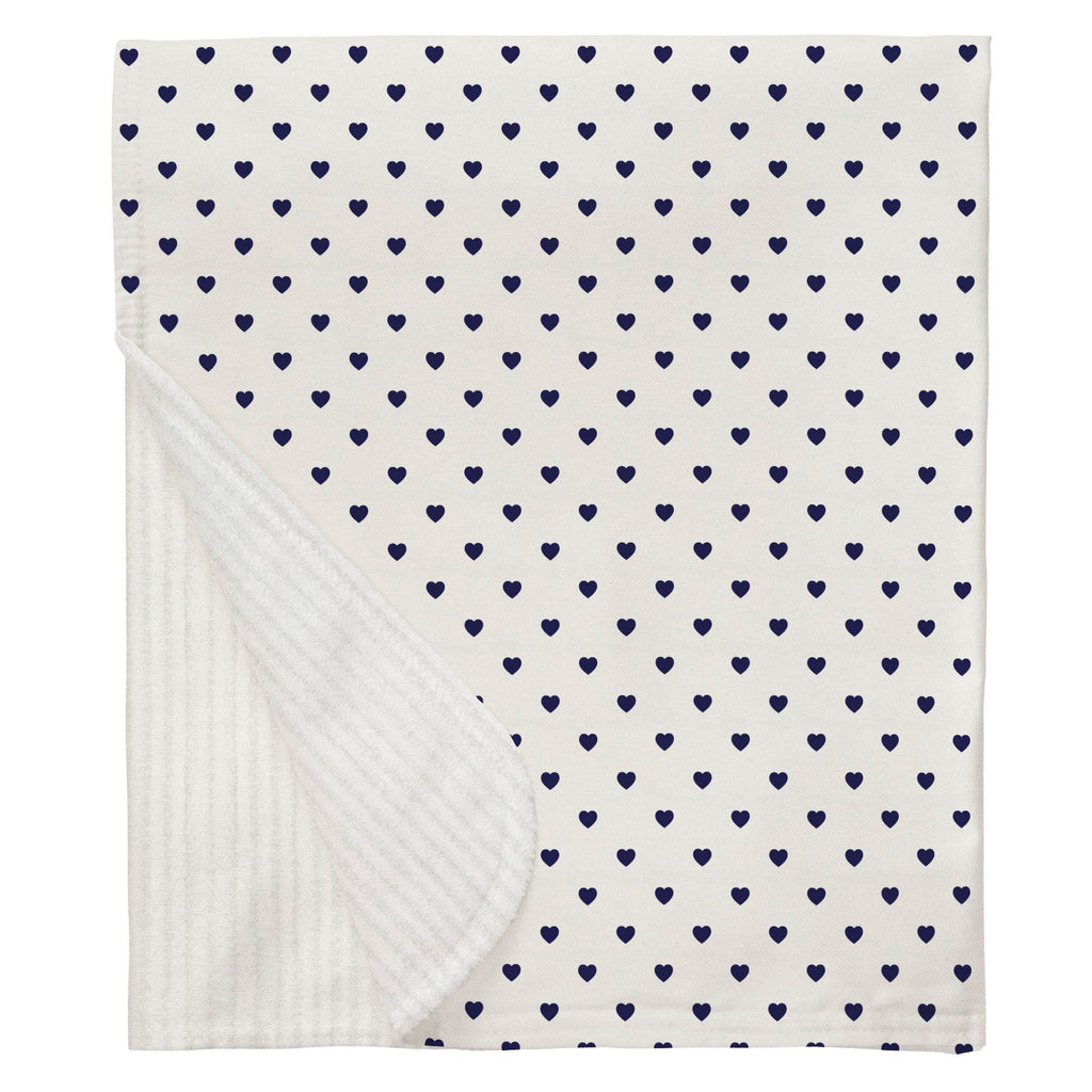 Product image for Windsor Navy Hearts Baby Blanket