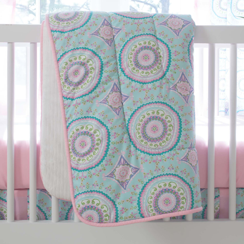 Product image for Aqua Haute Circles Crib Comforter with Piping