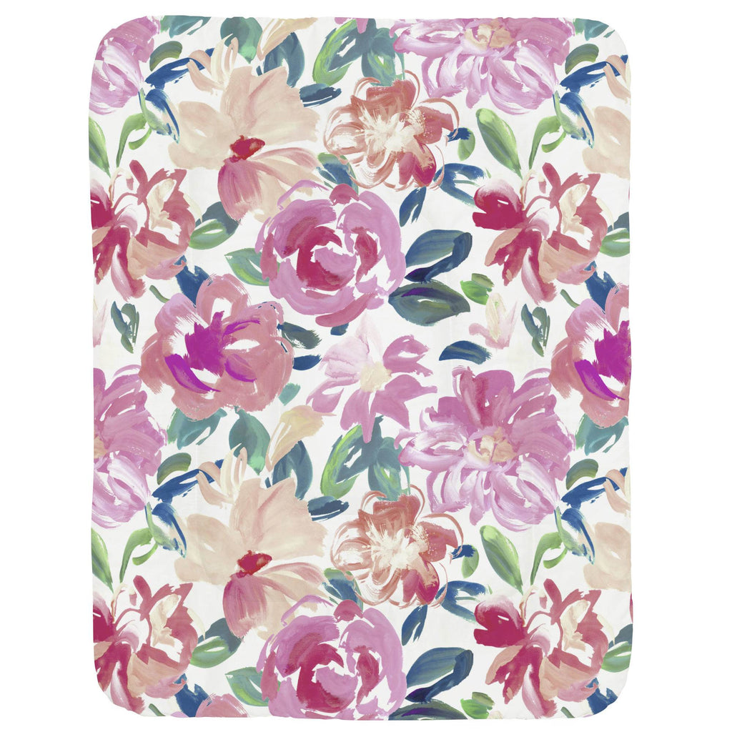 Product image for Pink Brushstroke Floral Crib Comforter