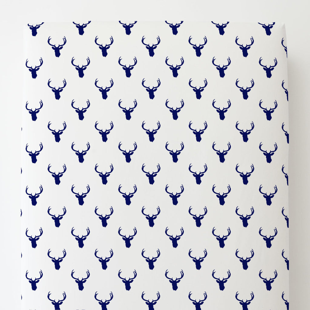 Product image for Navy Deer Silhouette Toddler Sheet Bottom Fitted