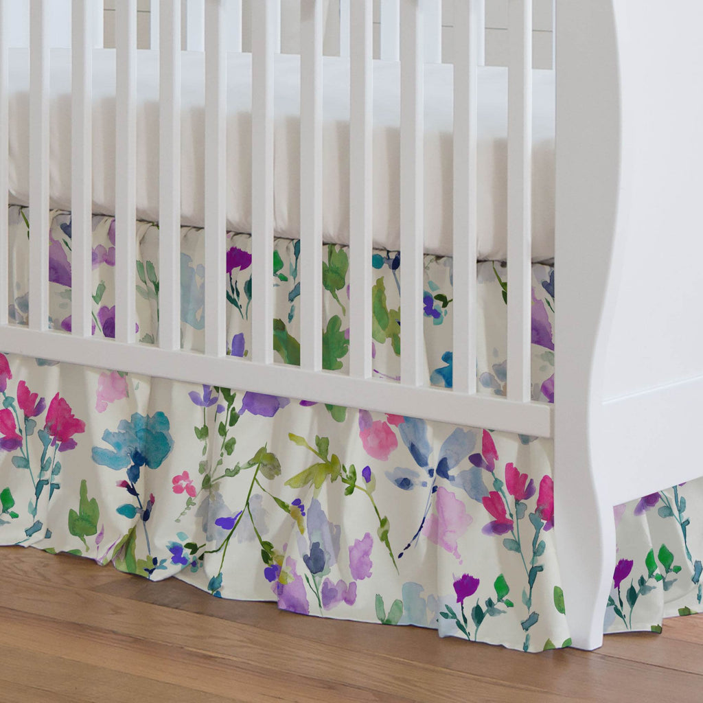 Product image for Bright Wildflower Crib Skirt Gathered