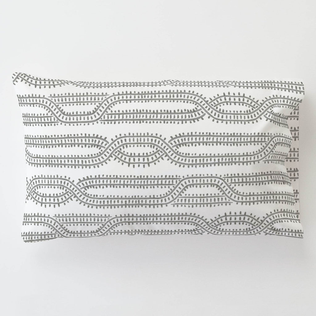 Product image for Gray Train Tracks Toddler Pillow Case with Pillow Insert