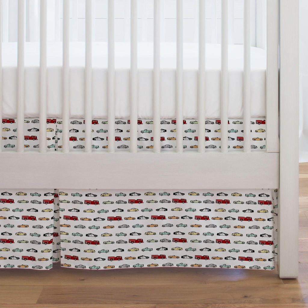 Product image for Modern Cars Crib Skirt Single-Pleat