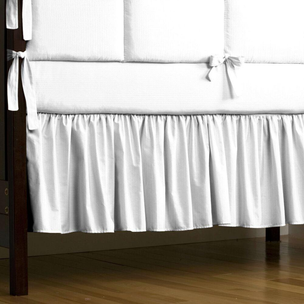 Product image for White Pique Crib Skirt Gathered