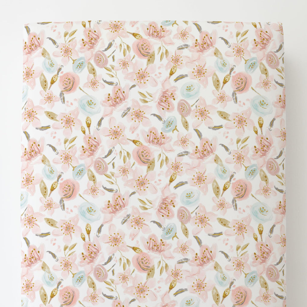 Product image for Pink Hawaiian Floral Toddler Sheet Bottom Fitted