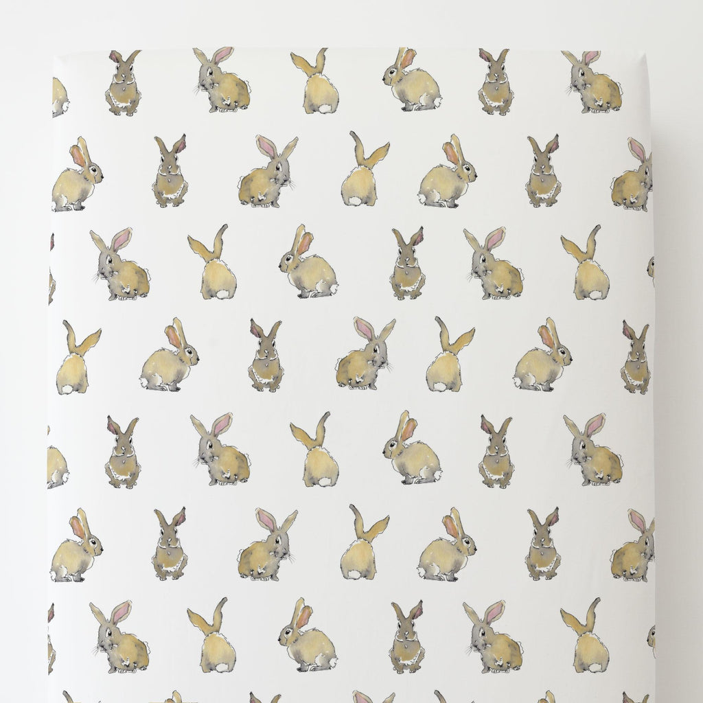 Product image for Watercolor Rabbits Toddler Sheet Bottom Fitted