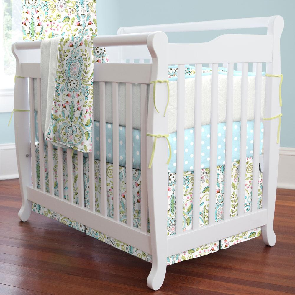 Product image for Love Bird Damask Mini Crib Skirt
