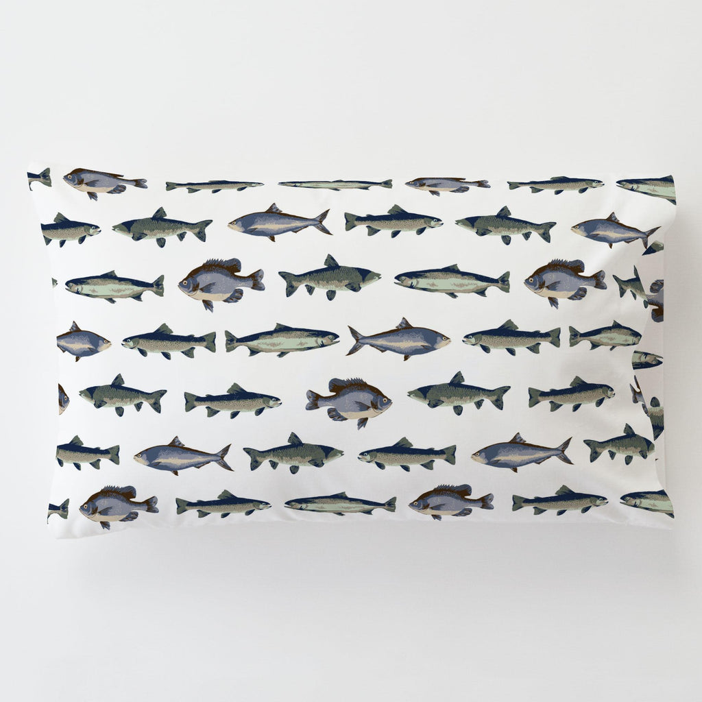 Product image for Navy and Seafoam Fish Toddler Pillow Case with Pillow Insert