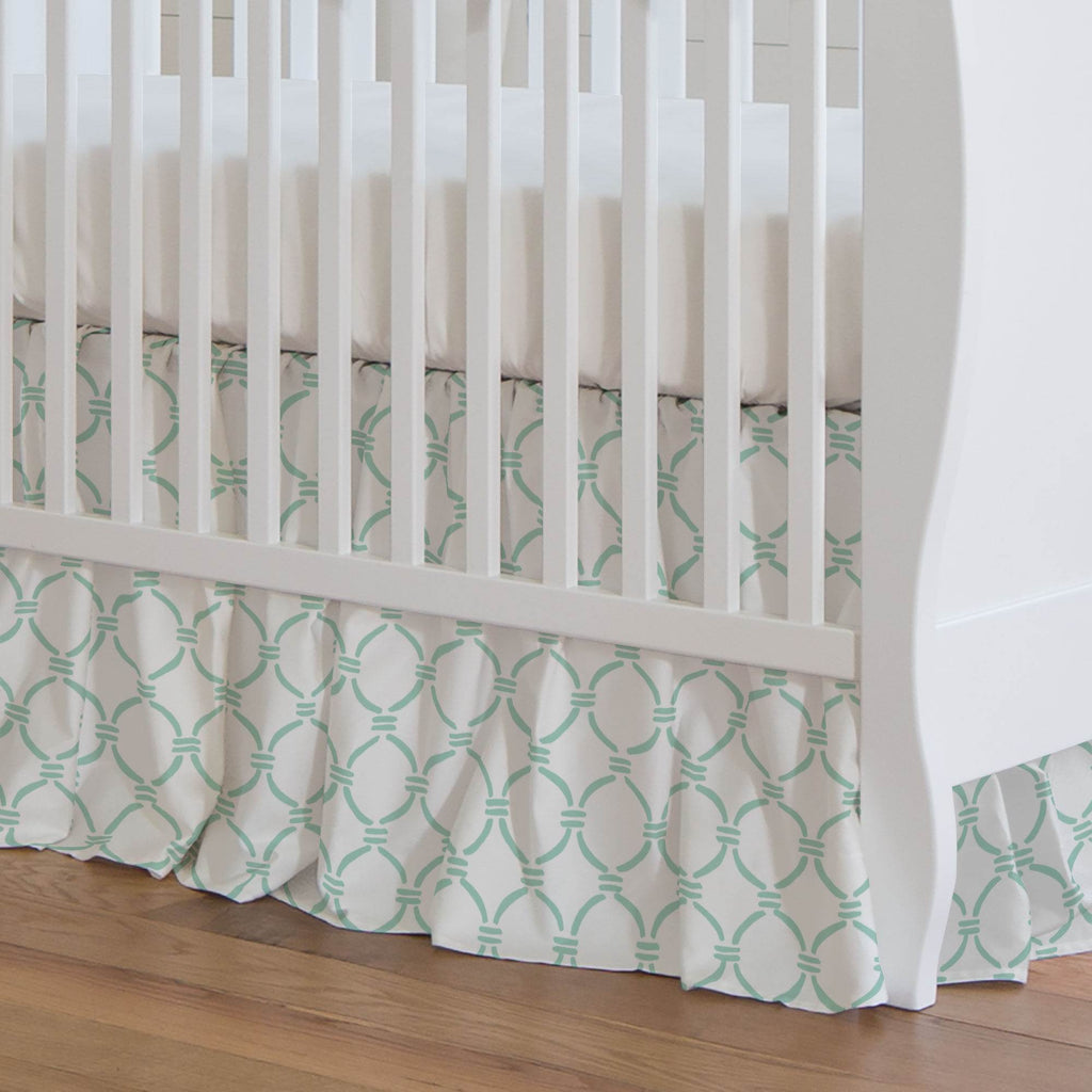 Product image for Mint Lattice Circles Crib Skirt Gathered