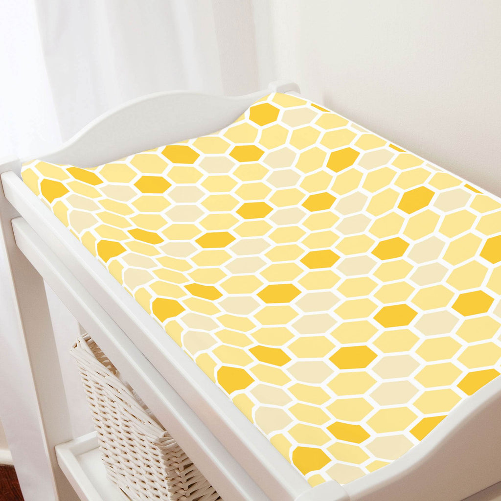 Product image for Yellow Honeycomb Changing Pad Cover
