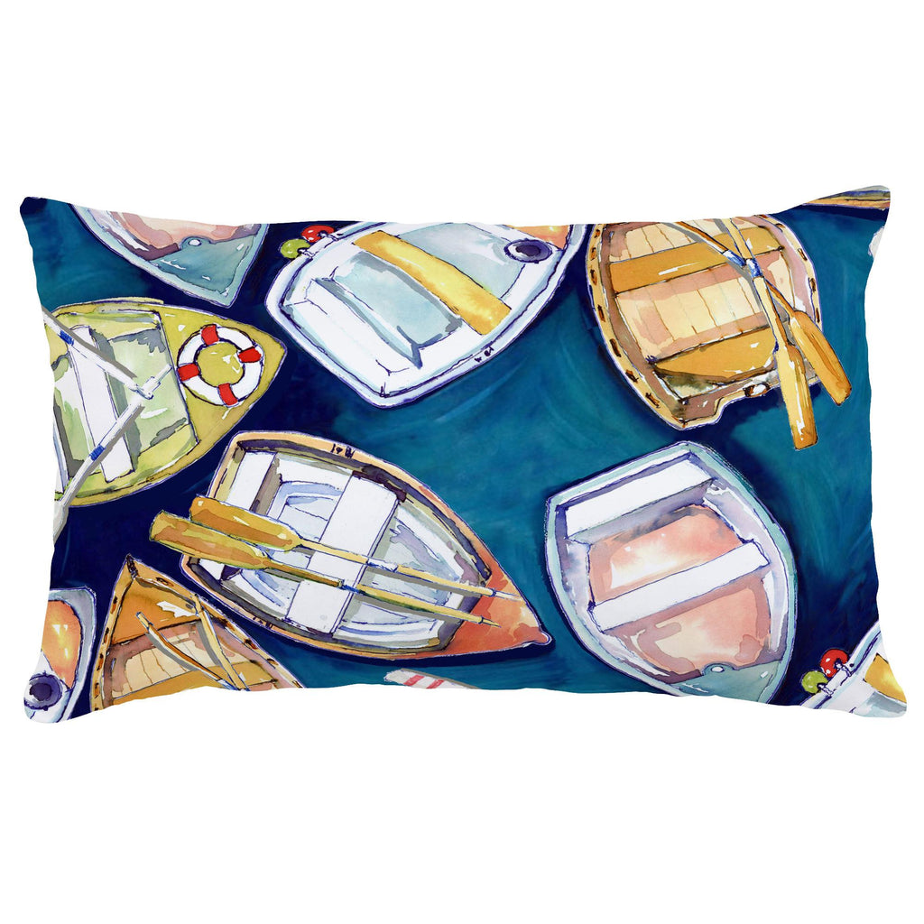 Product image for Blue Watercolor Boats Lumbar Pillow