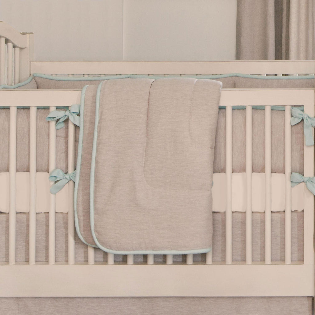 Product image for Light Blue and Flax Linen Crib Comforter with Piping