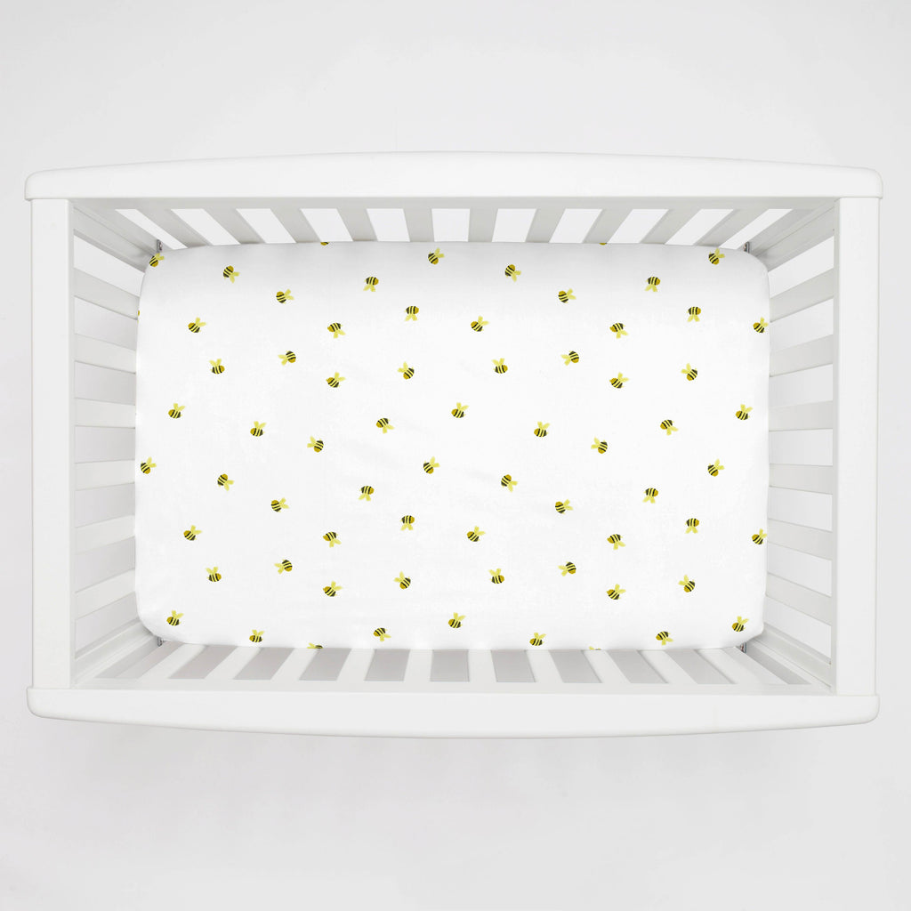 Product image for Watercolor Bees Mini Crib Sheet