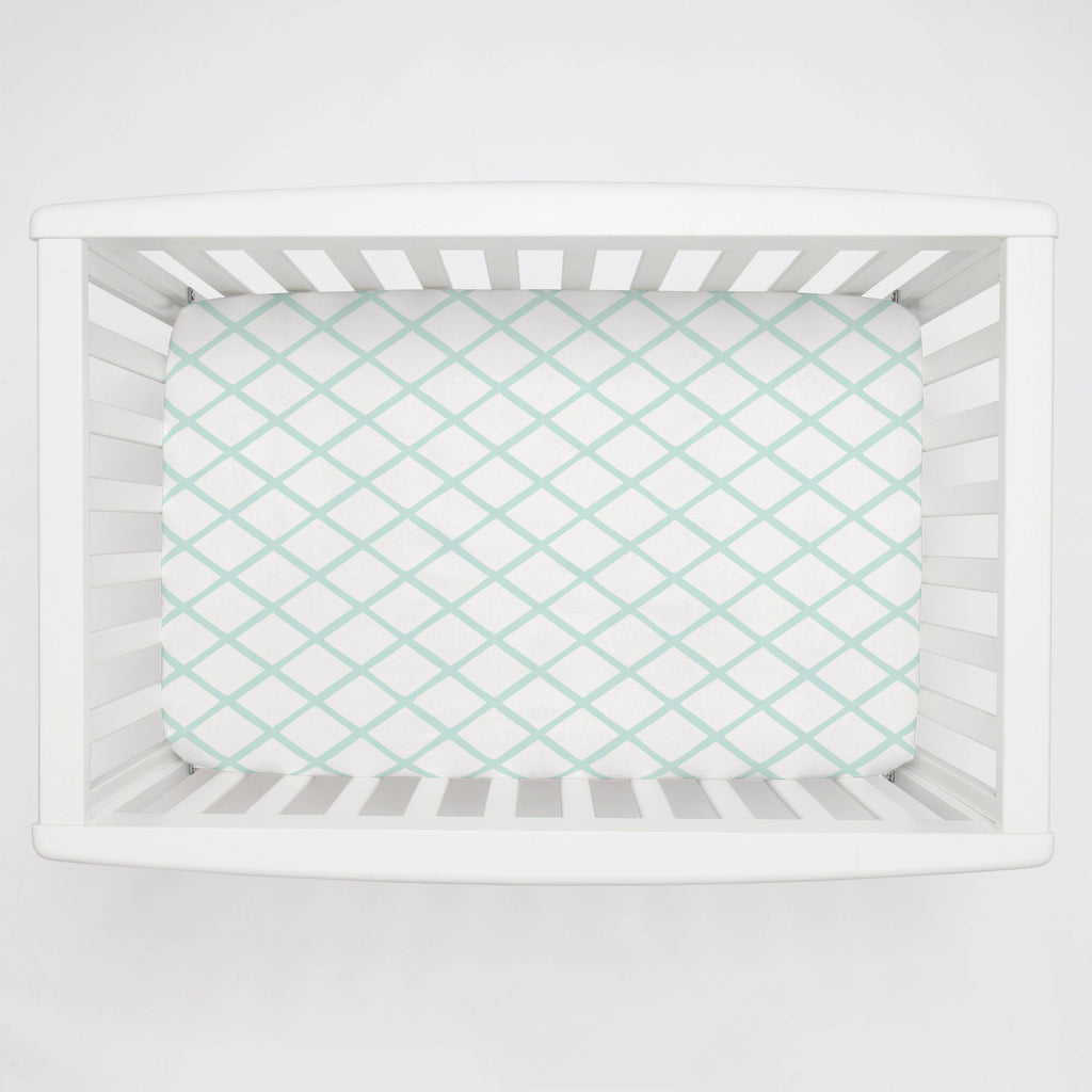 Product image for Icy Mint Trellis Mini Crib Sheet