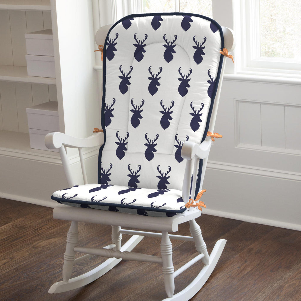 Product image for Windsor Navy Deer Head Rocking Chair Pad