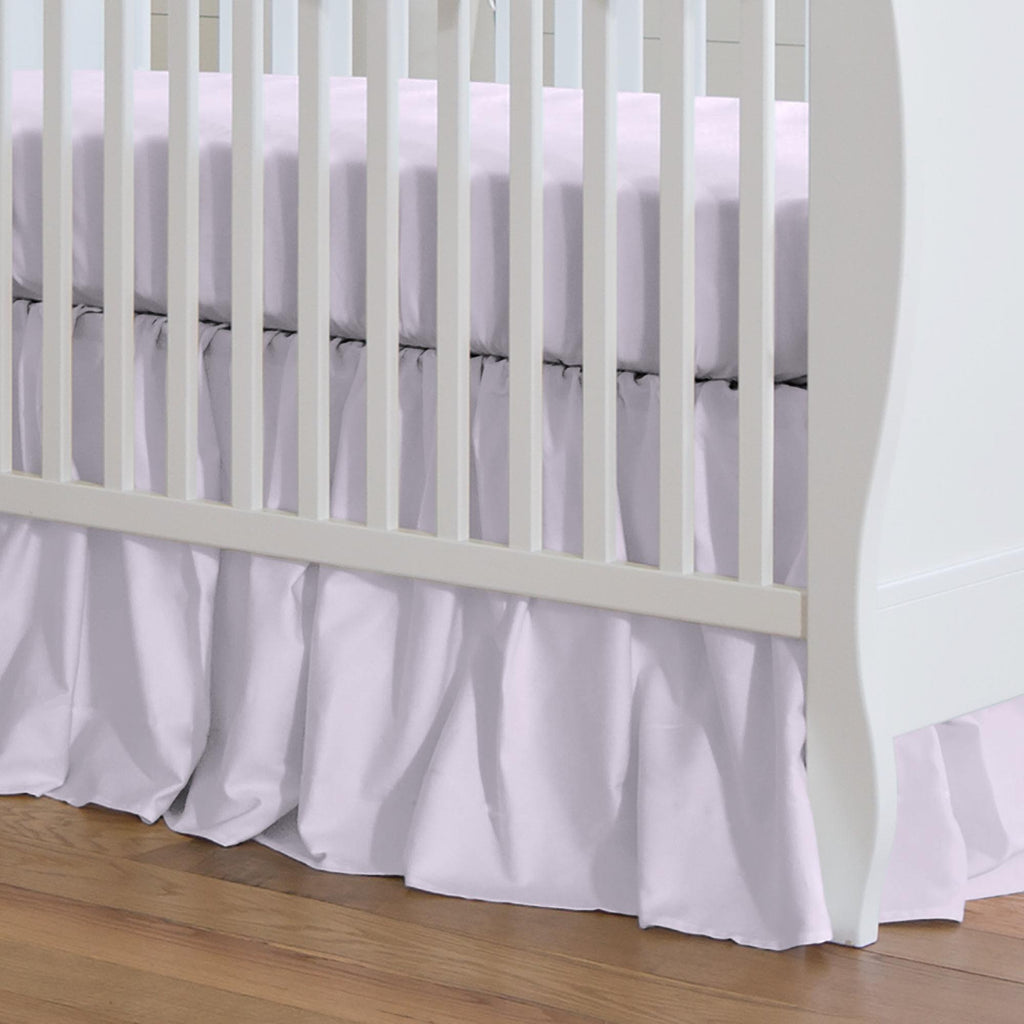 Product image for Solid Lilac Crib Skirt Gathered