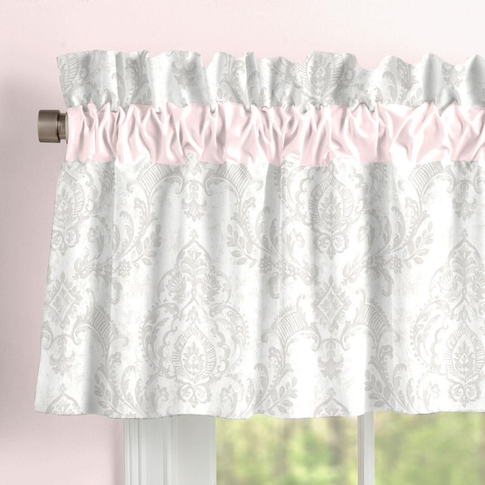 Product image for French Gray Painted Damask Window Valance