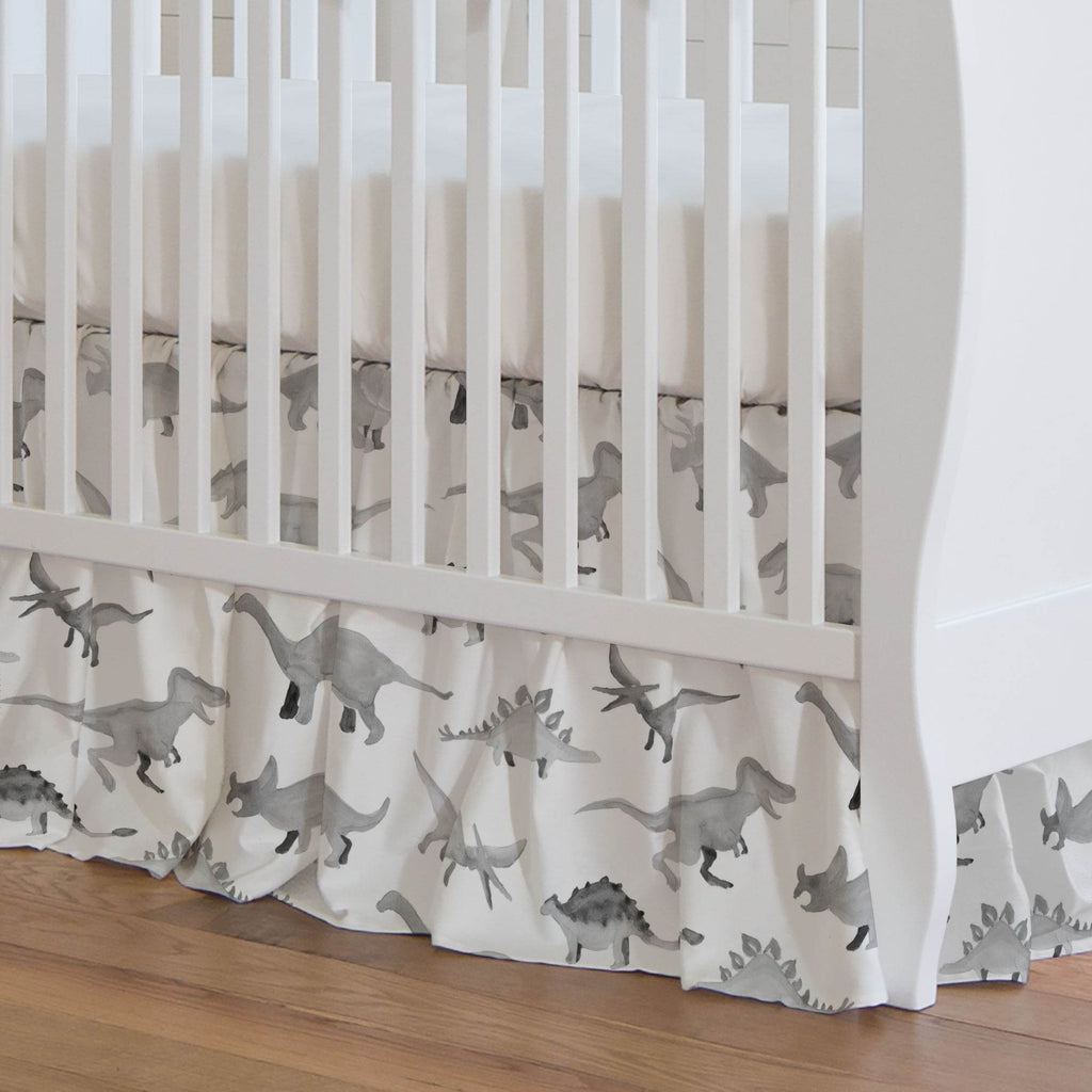 Product image for Gray Watercolor Dinosaurs Crib Skirt Gathered