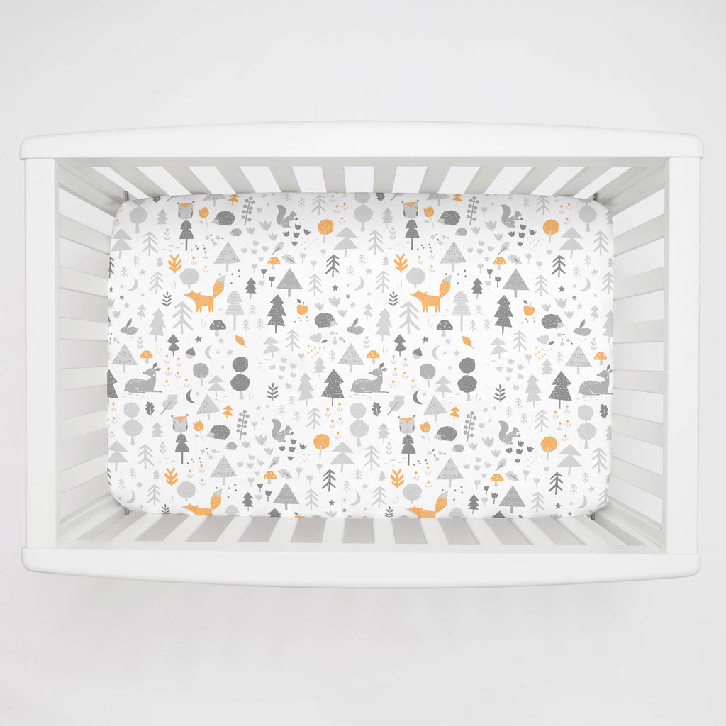 Product image for Light Orange and Silver Gray Baby Woodland Mini Crib Sheet