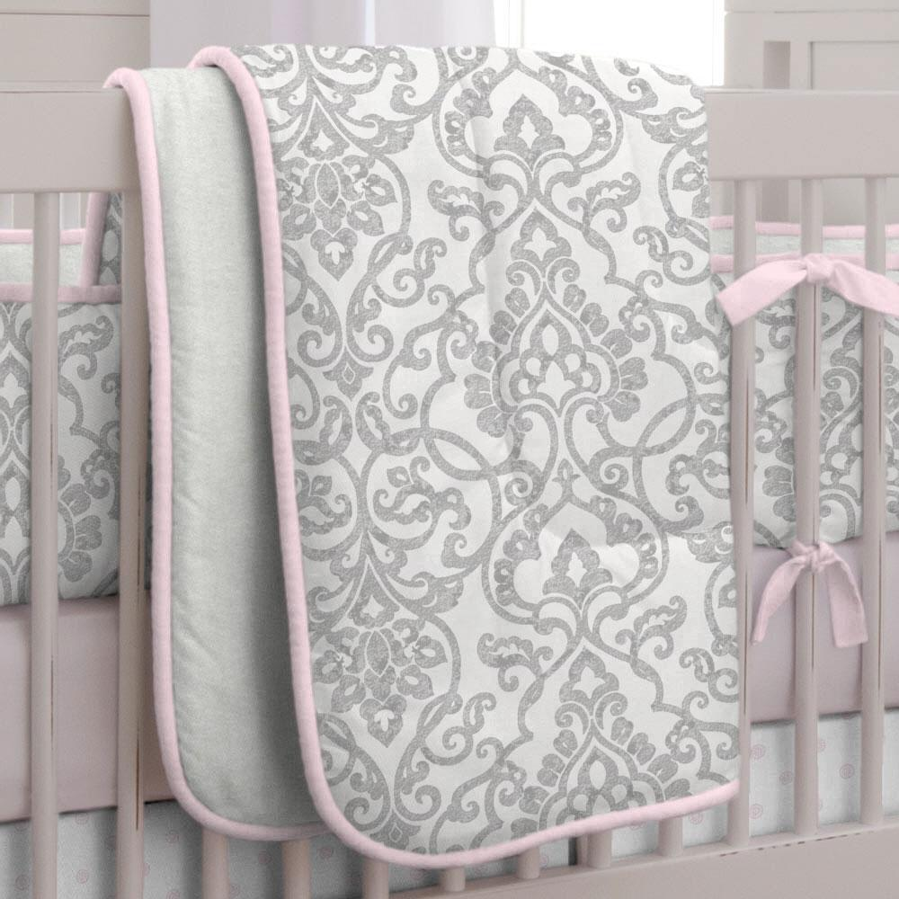 Product image for Gray Filigree Crib Comforter with Piping