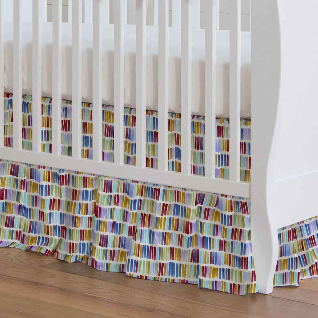 Product image for Colorful Bars Crib Skirt Gathered