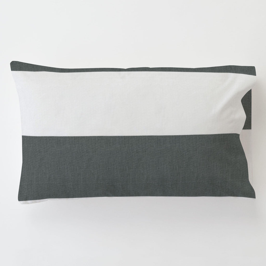 Product image for Charcoal Horizontal Stripe Toddler Pillow Case with Pillow Insert