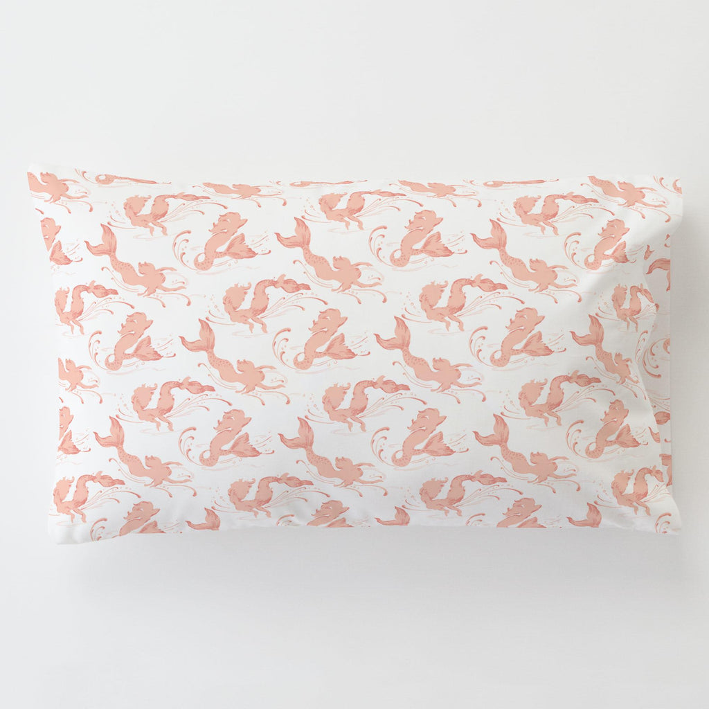 Product image for Peach Swimming Mermaids Toddler Pillow Case with Pillow Insert