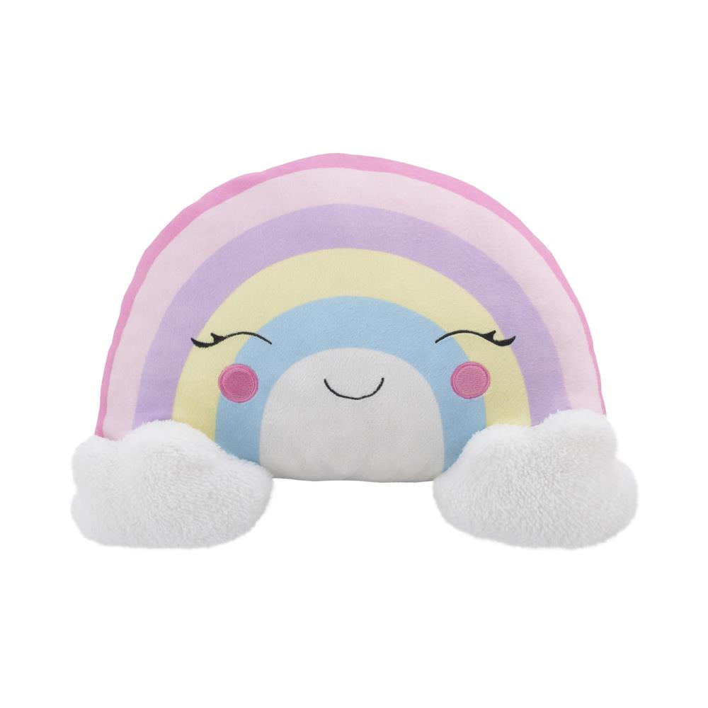 Product image for Plush Sherpa Rainbow with Clouds Decorative Pillow
