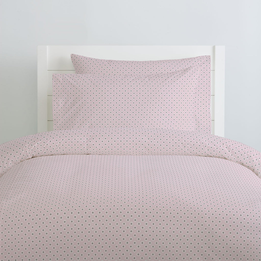 Product image for Pink and Gray Diamond Duvet Cover