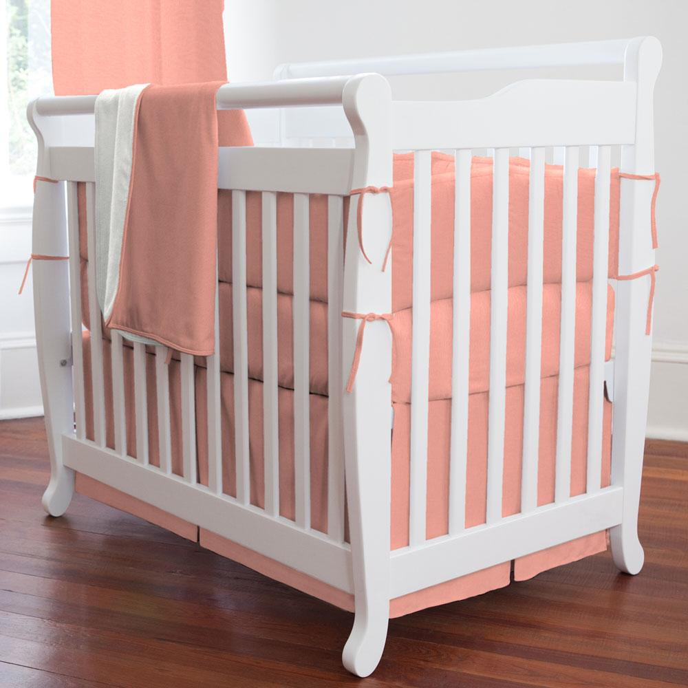 Product image for Solid Light Coral Mini Crib Skirt