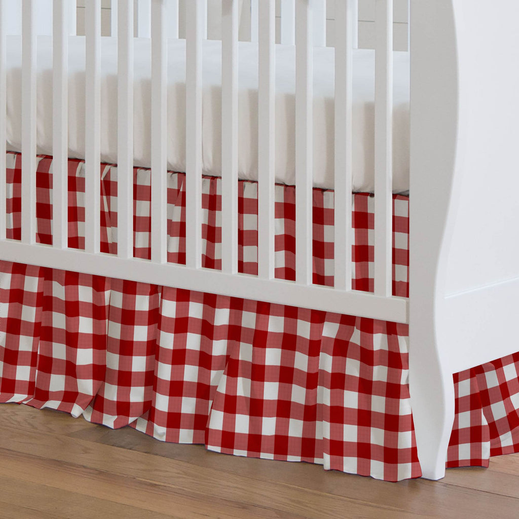 Product image for Red Gingham Crib Skirt Gathered